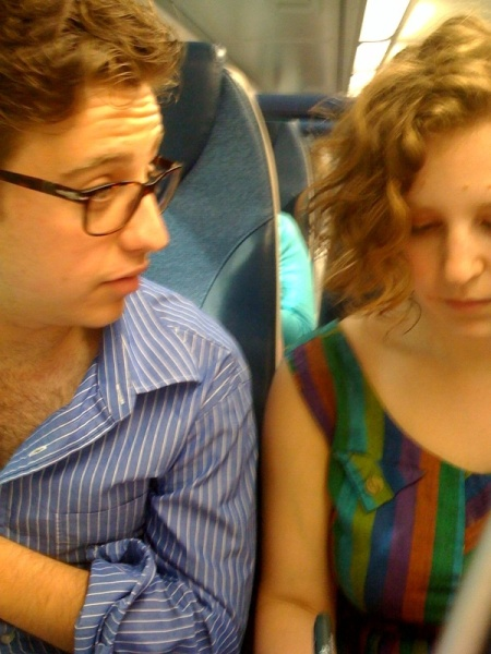 siblings on the train