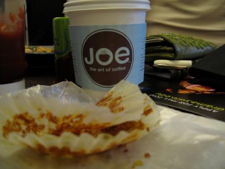 cafe au lait and pumpkin cranberry muffin appetizer