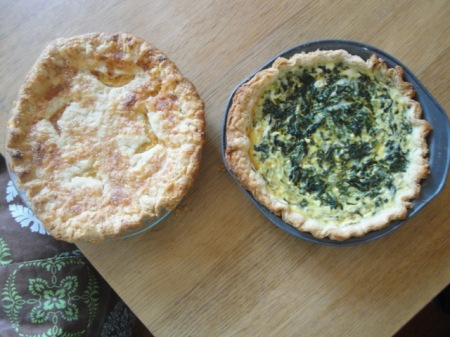 homemade quiche and pie, made by MacKenzie